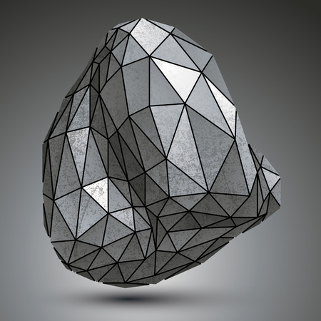misshapen: Distorted galvanized 3d object created from geometric figures, complicated spatial design model.