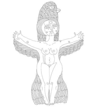 nude woman: Vector monochrome illustration of bizarre creature, nude woman with wings, animal side of human being. Goddess conceptual hand drawn allegory image. Free as bird.
