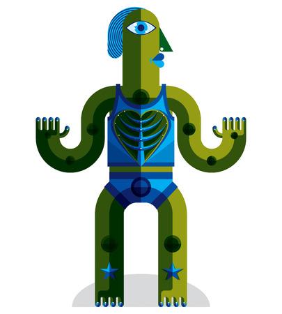 arbol de la vida: Ilustraci�n vectorial modernista, geom�trico avatar estilo del cubismo aislado en el fondo blanco. Imagen de car�cter extra�o hecho en dise�o plano. �rbol del concepto de vida.
