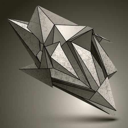 facet: Deformed sharp zink object, contrast cybernetic facet element. Illustration