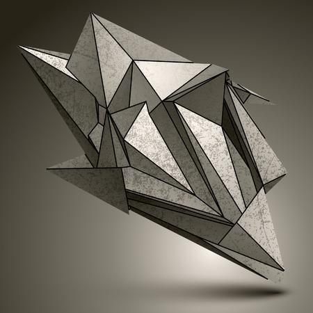 deformed: Deformed sharp zink object, contrast cybernetic facet element. Illustration