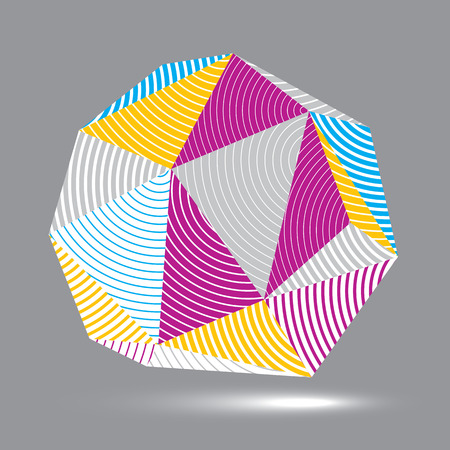 deformed: 3D vector abstract design object, polygonal complicated figure. Colorful three-dimensional deformed striped shape, render.