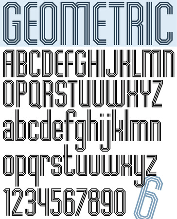 triple: Poster black geometric stylish ink font and numbers with triple lines.