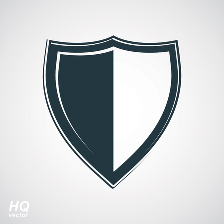 alta calidad: Vector grayscale defense shield, protection design graphic element. High quality illustration on security theme - retro coat of arms.