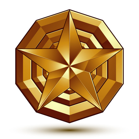 golden star: Sophisticated vector golden star emblem, 3d decorative design element, clear.