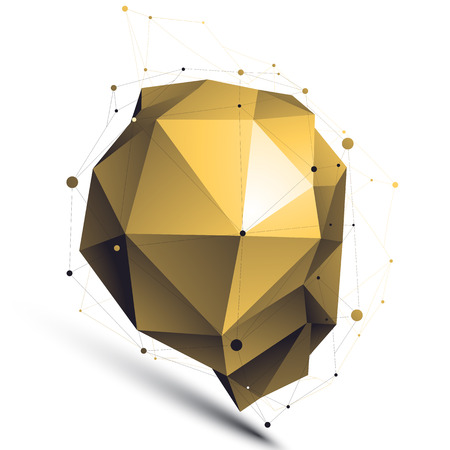 complicated: Gold 3D vector abstract design object, polygonal complicated figure with lines mesh isolated on white background.