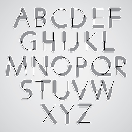 greyscale: Weird constructor font, vector alphabet letters, greyscale version. Illustration