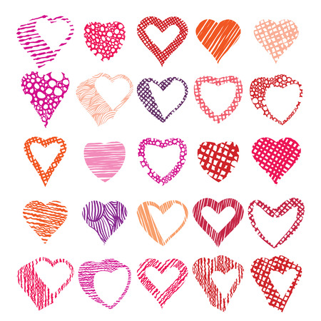 adore: Hearts symbols vector set, different shapes and textures vector heart icons. Illustration