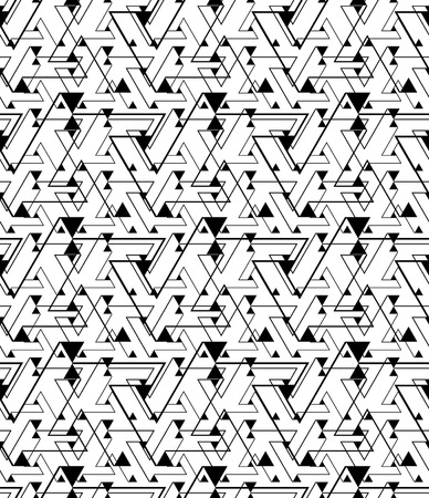 white wallpaper: Geometric contrast maze abstract seamless pattern, continuous illusive vector background. Messy black and white wallpaper covering with triangles and lines, graphic design contemporary texture. Illustration