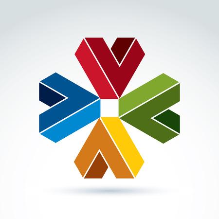 attribute: Vector abstract vinkjes, ontwerp samenstelling. Geometrische kleurrijke symbool op een witte achtergrond, corporate attribuut.