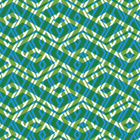 splice: Bright rhythmic textured endless pattern, green continuous creative textile, geometric overlay motif background. Illustration