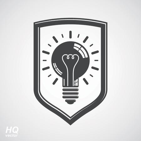 brain storm: Protection shield with electricity light bulb symbol. Vector brain storm conceptual icon. Business idea design element. Graphic web insight emblem.