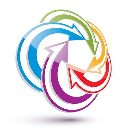 conceptual symbol: Arrows abstract conceptual symbol template, vector 3d pictogram.