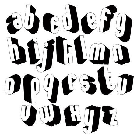 single color: Black and white 3d font, single color simple and bold letters alphabet, best for use in web design and advertising, for use in headlines, elegant symbols with good style. Illustration