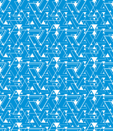 Geometric blue maze seamless pattern, endless illusive vector background. Chaotic abstract covering with triangles and stripes, can be used in graphic design.