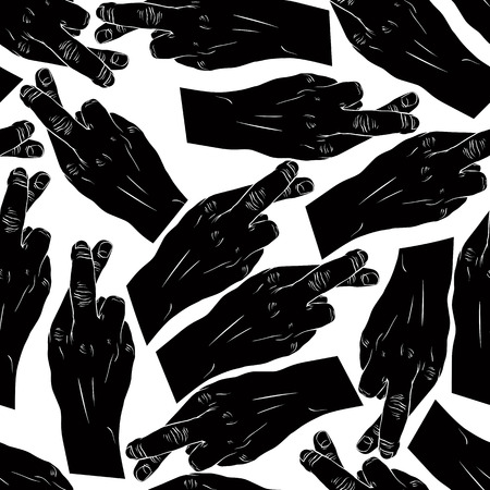 cheater: Hands of cheaters with crossed fingers seamless patter, black and white vector background for wallpapers, textile or other designs. Illustration