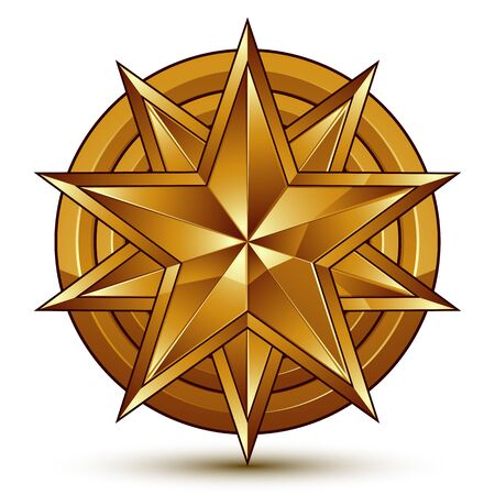 eps8: Wonderful vector template with golden star symbol, best for use in web and graphic design. Heraldic icon, clear eps8 vector.
