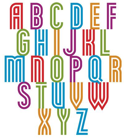 verbs: Double line retro style trendy font, elegant geometric letters vector alphabet. Uppercase letters set. Uppercase letters set. Vector.