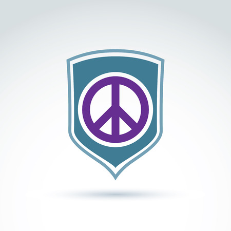 peacemaker: Round antiwar vector icon on a shield, global peace protection vector icon. Peacemaker badge.