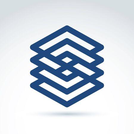 parallelogram: Cuatro vector resumen intercept� rombos monocromas, diamantes entrelazados aisladas sobre fondo blanco. Complejo geom�trica s�mbolo de marca corporativa. Vectores