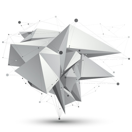 facet: 3D mesh modern stylish abstract object, origami facet structure isolated on white background. Illustration