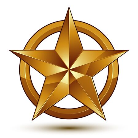 golden star: Sophisticated vector golden star emblem, 3d decorative design element, clear EPS 8.
