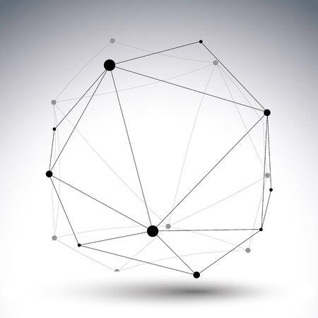 Geometric vector abstract 3D complicated lattice щиоу�е, single color messy eps8 conceptual tech illustration.