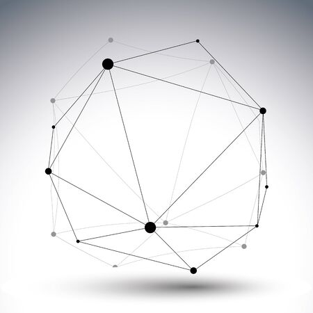 perspective: Geometric vector abstract 3D complicated lattice щиоусе, single color messy eps8 conceptual tech illustration. Illustration