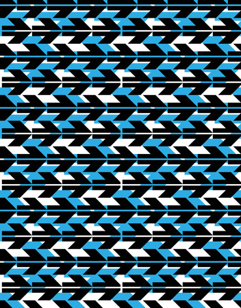 covering: Colorful geometric seamless layered composition created with black arrows, blue symmetric endless vector background. Abstract conceptual design covering. Illustration