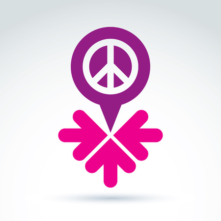 propaganda: Peace propaganda icon with arrows, working and cooperation for peace, vector conceptual unusual symbol for your design.