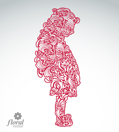 shy: Creative illustration of a shy girl with a long hair. Cute teenage girl wearing a flower-patterned dress. Graphic vector beautiful image of a schoolgirl.