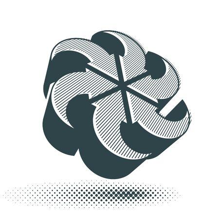 single color: Looping arrows vector abstract symbol, conceptual special made 3d single color icon. Illustration