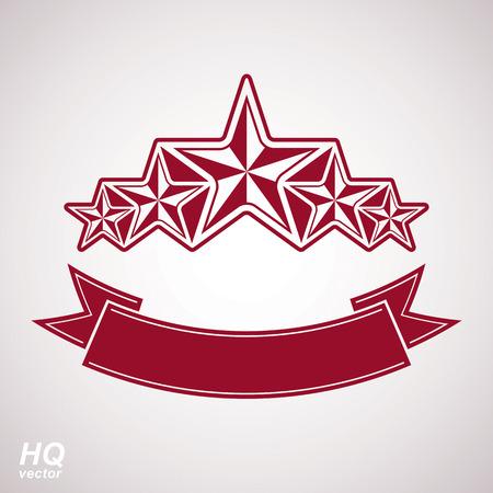 Vector monarch symbol. Festive graphic emblem with five pentagonal stars and curvy ribbon - decorative luxury eps8 template. Corporate branding icon, success concept theme design element.