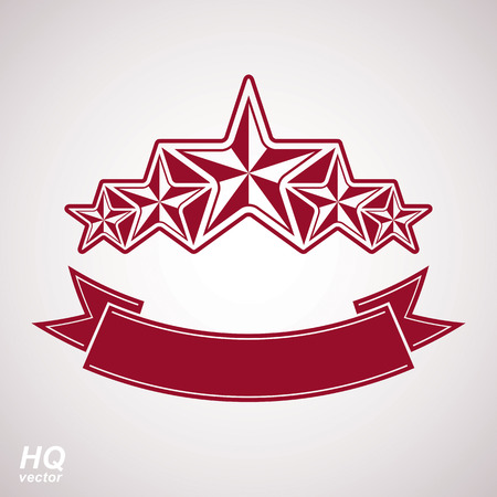 Vector monarch symbol. Festive graphic emblem with five pentagonal stars and curvy ribbon - decorative luxury eps8 template. Corporate branding icon, success concept theme design element.