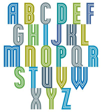 letter word: Retro style stripe trendy font, geometric letters vector alphabet. Uppercase letters set. Vector.