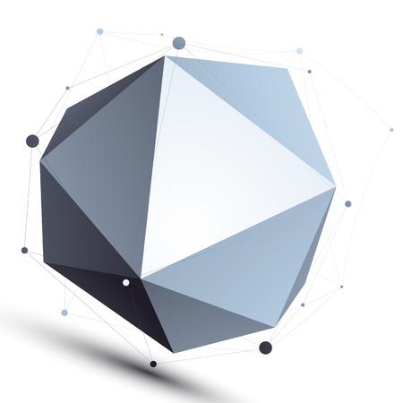 3D malla esférica objeto abstracto elegante, origami mundo faceta aislada en el fondo blanco.