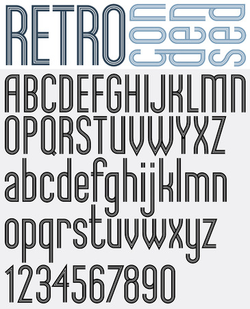 triple: Retro triple line stripes font, light condensed version, pattern old style alphabet. Best for use as a headlines in advertising stylish retro graphic designs, posters and web design. Vector. Illustration