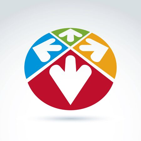 multidirectional: 3d abstract emblem with multidirectional arrows in the shape of hearts – up, down, left, right. Conceptual corporate symbol, brand icon.