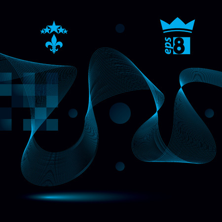 five stars: Sophisticated 3d waved decoration, clear eps 8 vector illustration, dark motif background with five stars element and crown symbol.