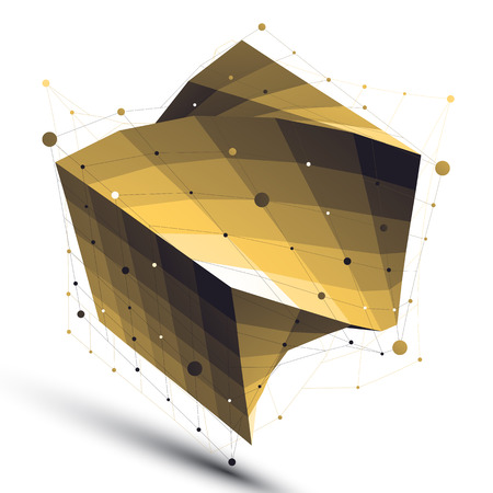 Gold squared twisted abstract 3D shape, vector digital lattice object. Illustration