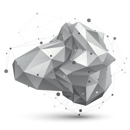facet: Geometric monochrome polygonal structure with wire mesh, modern facet science and tech element. Illustration