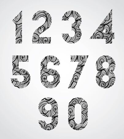 numerals: Retro shaped black numbers, old style numerals with hand drawn curly lines pattern, sketch funky curls doddle style drawing vector symbols. Numbers designed specially, vector.