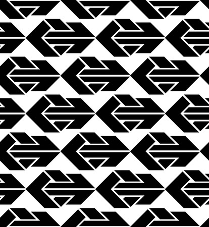 Seamless pattern with arrows, black and white infinite geometric textile, abstract vector textured visual covering. Monochrome inspired seamless geometric background with arrowheads.