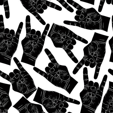 hard rock: Rock hands seamless pattern, rock, metal, rock and roll music style black and white vector background for wallpapers, textile or other designs.
