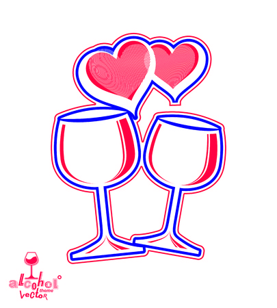 greeting stylized: Artistic illustration of wineglasses with two elegant loving hearts. Wedding couple concept – stylized goblets of wine, best for use in graphic and web design. Greeting postcard.