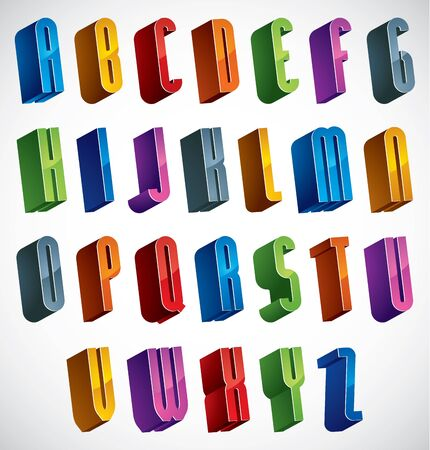 verbs: 3d font, vector colorful glossy letters, geometric dimensional alphabet, best for use in advertising and web design.