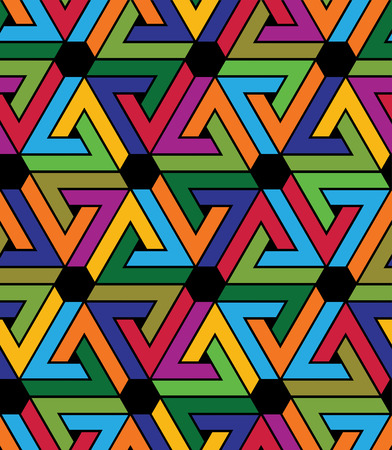 saturated: Creative continuous multicolored pattern, rich motif abstract background with triangles and hexagons. Saturated geometric creative backdrop, can be used for design and textile. Illustration