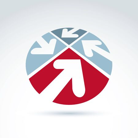 sectors: 3d abstract emblem with four multidirectional arrows placed in sectors – up, down, left, right. Conceptual corporate symbol, brand rounded icon.