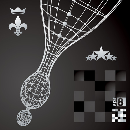 design objects: Geometric abstract grayscale 3D illustration, contrast vector digital eps8 lattice background with design objects. Royal theme elements.