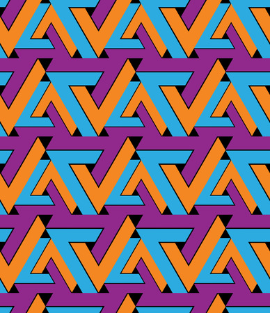 extraordinary: Regular extraordinary geometric seamless pattern with stylized triangles. Vivid continuous texture decoration, best for graphic and web design. Saturated background. Illustration